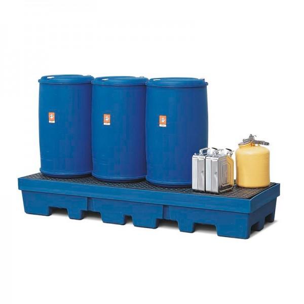 Auffangwanne PolySafe PSP 2.4-R aus PE, blau, Gabeltaschen und PE-Gitterrost, für 4 Fässer à 200 l