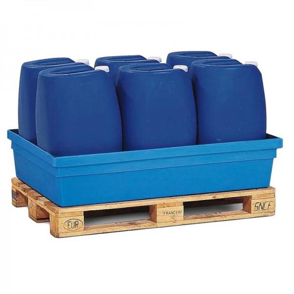 Auffangwanne PolySafe PSW 2.2 aus Polyethylen, blau, ohne Gitterrost, für 1 Fass à 200 Liter