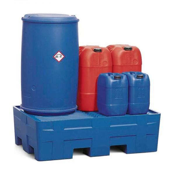 Auffangwanne PolyCompact PC2 aus Polyethylen (PE), integrierte Stellfläche, für 2 Fässer à 200 Liter