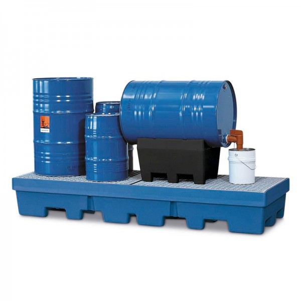 Auffangwanne PolySafe PSP 2.4-R aus PE, blau, Gabeltaschen, verz. Gitterrost, für 4 Fässer à 200 l
