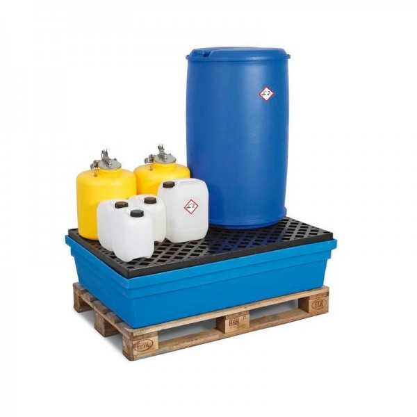 Auffangwanne PolySafe PSW 2.2 aus Polyethylen, blau, mit PE-Gitterrost, für 2 Fässer à 200 l