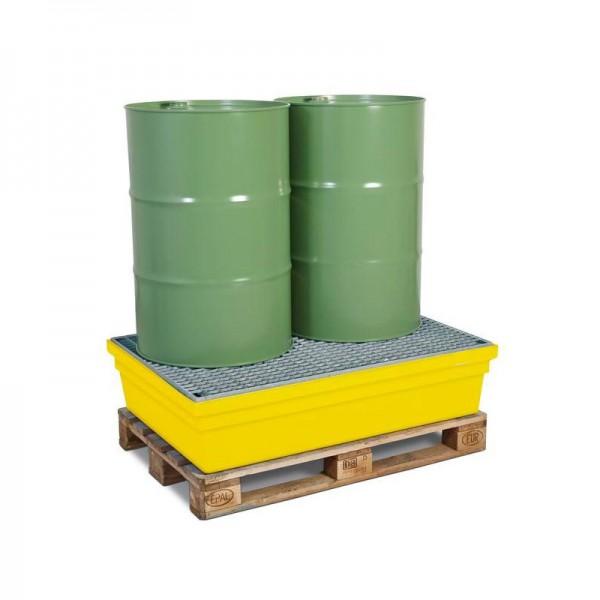 Auffangwanne PolySafe PSW 2.2 aus Polyethylen, gelb, mit verzinktem Gitterrost, für 2 Fässer à 200 l